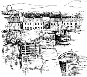Dockside illustration from Irish Guide