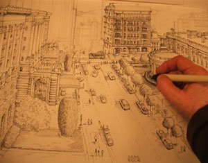 Sketching perspective of Nob Hill San Francisco
